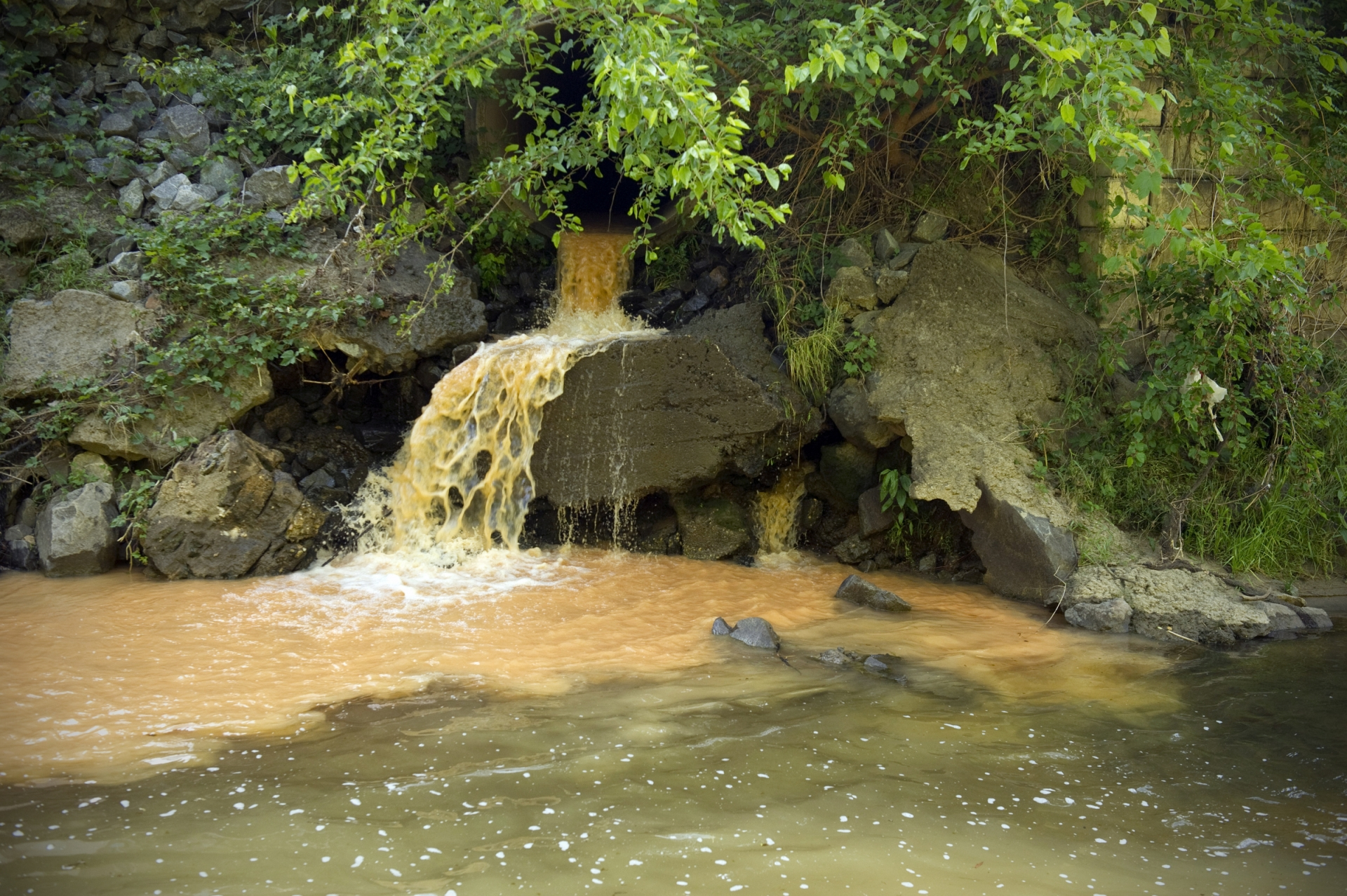Sedimentation from construction flows into Little Sugar Creek near Carolinas Medical Center on May 14, 2013. Photo: Nancy Pierce