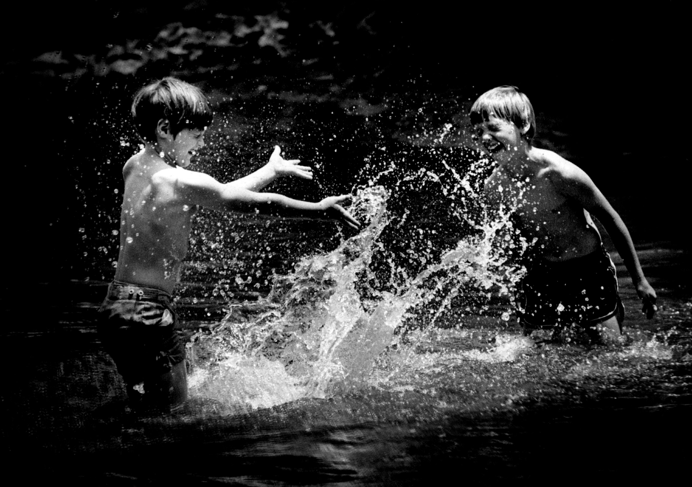 Splashing in either Briar or Little Sugar Creek near Park Road in July 1979, were Richard Allgood, left, and Lee Owings, both 8. Photo: Charlotte Observer archives