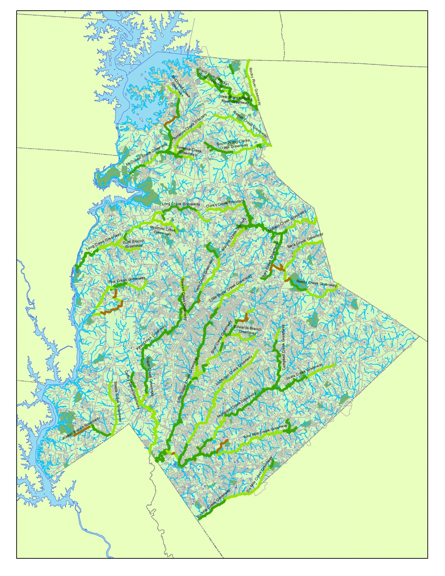 Click image for zoomable view. Greenways are in dark green; proposed greenways in light green; overland connectors in brown. Information from Mecklenburg County Park and Recreation Department.